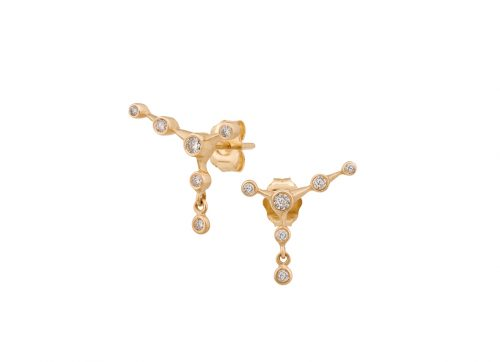 celine daoust gold constellation 6 diamond stud earrings