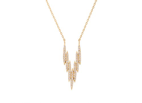 celling daoust yellow gold v lines diamond necklace