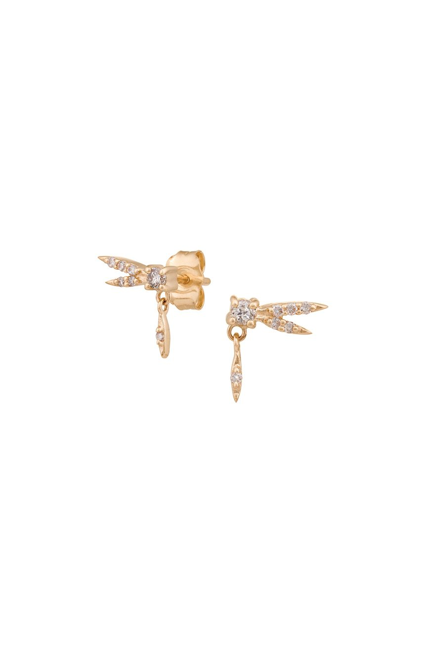 celine daoust gold from the earth baby dragonfly diamond stud earrings