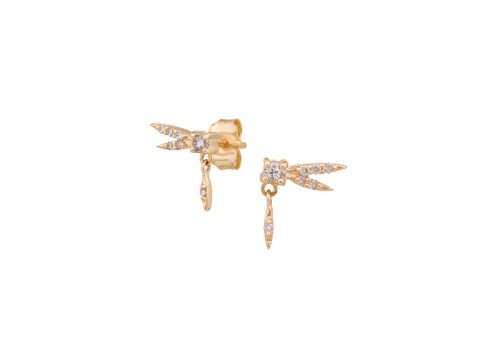 celine daoust gold baby dragonfly diamond earrings