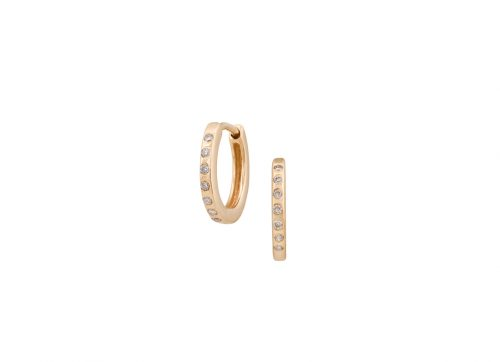 celine daoust gold mini diamond huggie hoop earrings