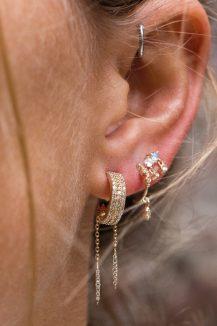 celine daoust triple diamond lines with dangling beam hoop earrings