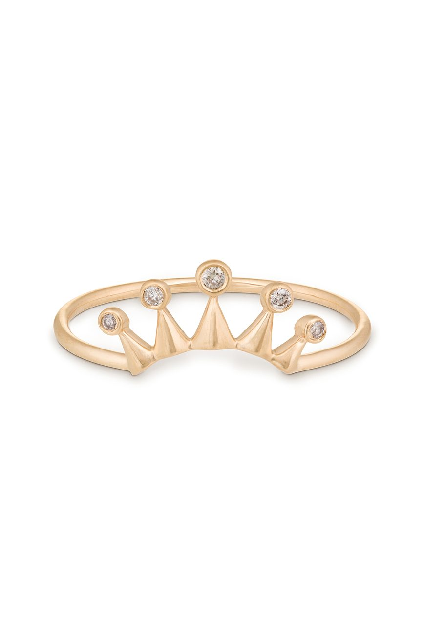 Yellow Gold White Diamond Sun Crown Stacking Ring