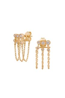 Yellow Gold White Diamond Chain Stud Post Earring