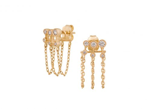 mix and match triple chain diamond gold earring