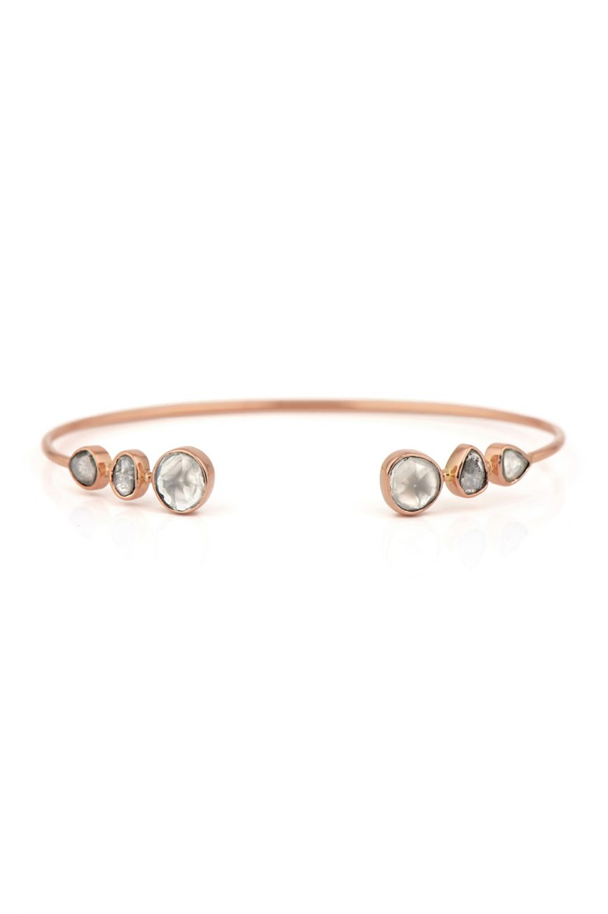Celine Daoust Rose Gold Grey Diamond Slices Bangle
