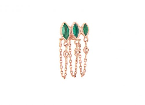 rose gold emerald marquises and diamond eyes single chain earring celine daoust