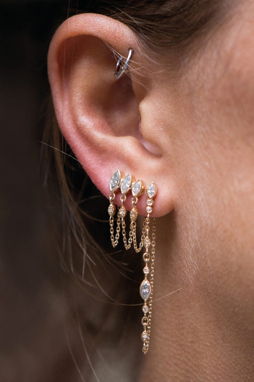 43443355dfba8e ... yellow gold protection and believes triple diamond marquises and diamond  eyes single chain earring