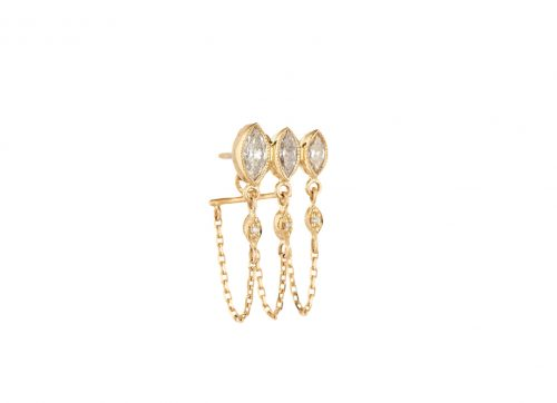 yellow gold protection and believes triple diamond marquises and diamond eyes single chain earring
