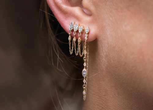 Celine Daoust Protection and Believes Triple Marquise Diamond and diamond eyes Single Chain Earring