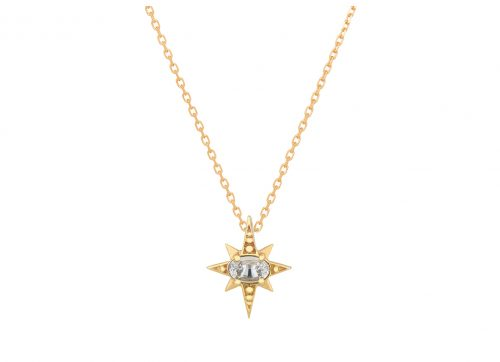 celine daoust yellow gold one of a kind sapphire star chain necklace