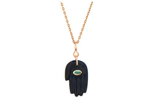 celine daoust grey tiger's eye emerald mudra's hand pendant necklace