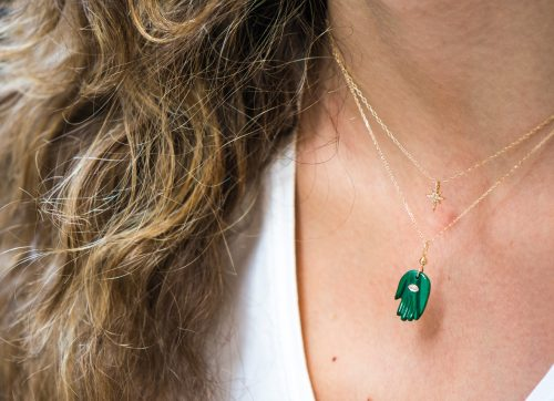 yellow gold protection and believes malachite and diamond eye protection hand chain necklace celine daoust