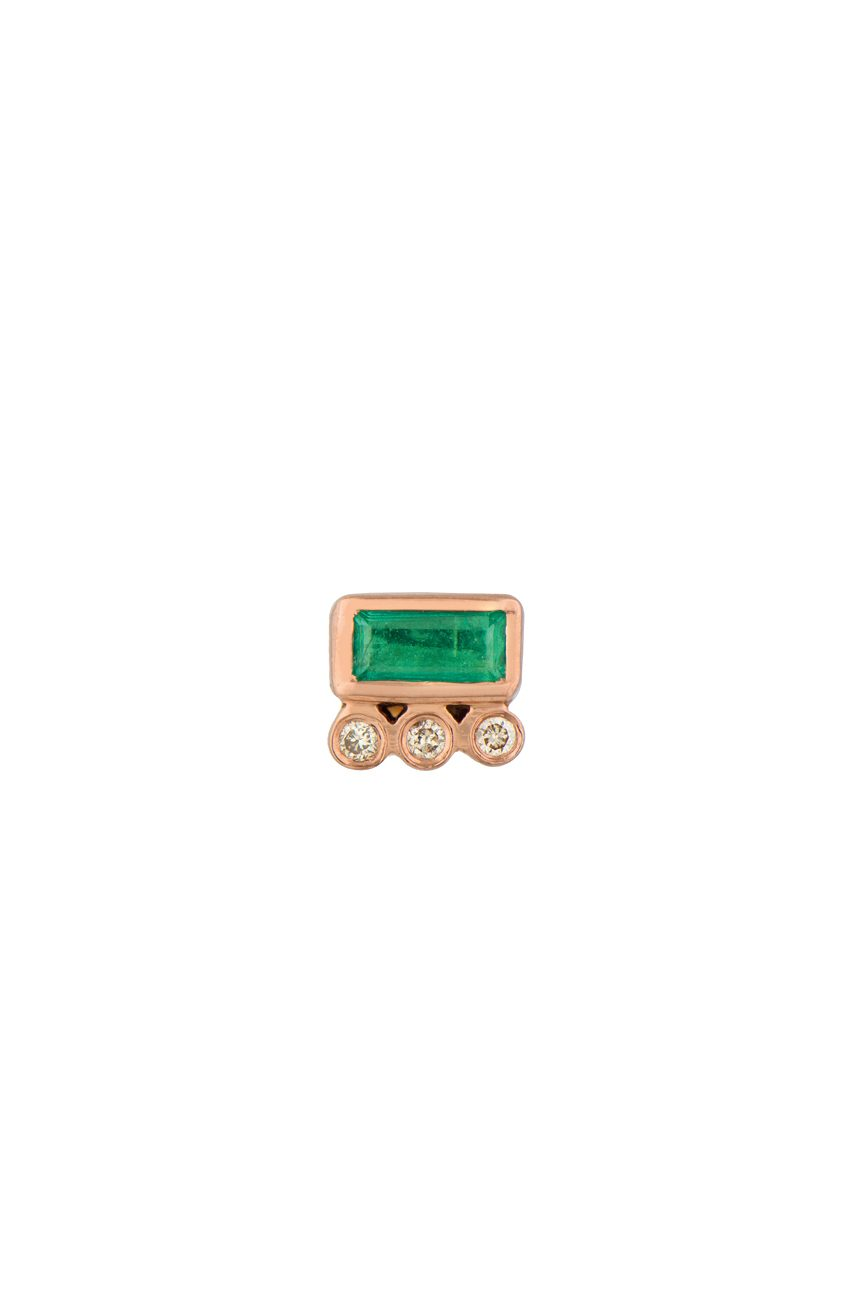 rose gold emerald baguette and diamonds single stud earring celine daoust