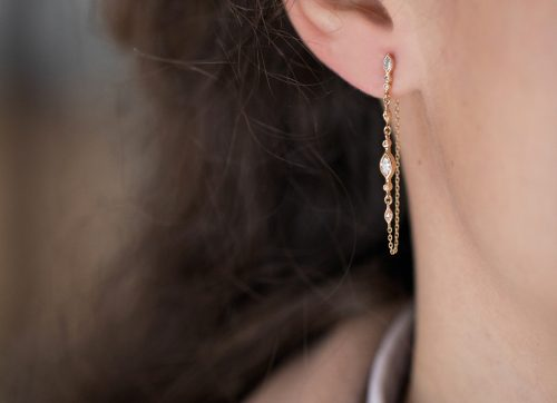 Celine Daoust Protection and Believes Marquise Diamonds and diamonds eyes Single long Chain Earring
