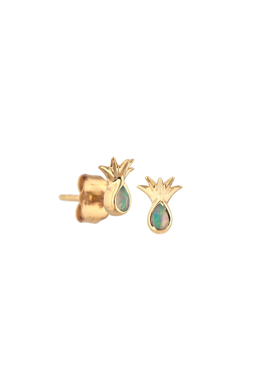 yellow gold pineapple and ethiopian opal set earrings celine daoust