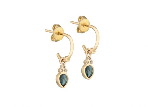 yellow gold green tourmaline and three little diamonds set earrings celine daoust