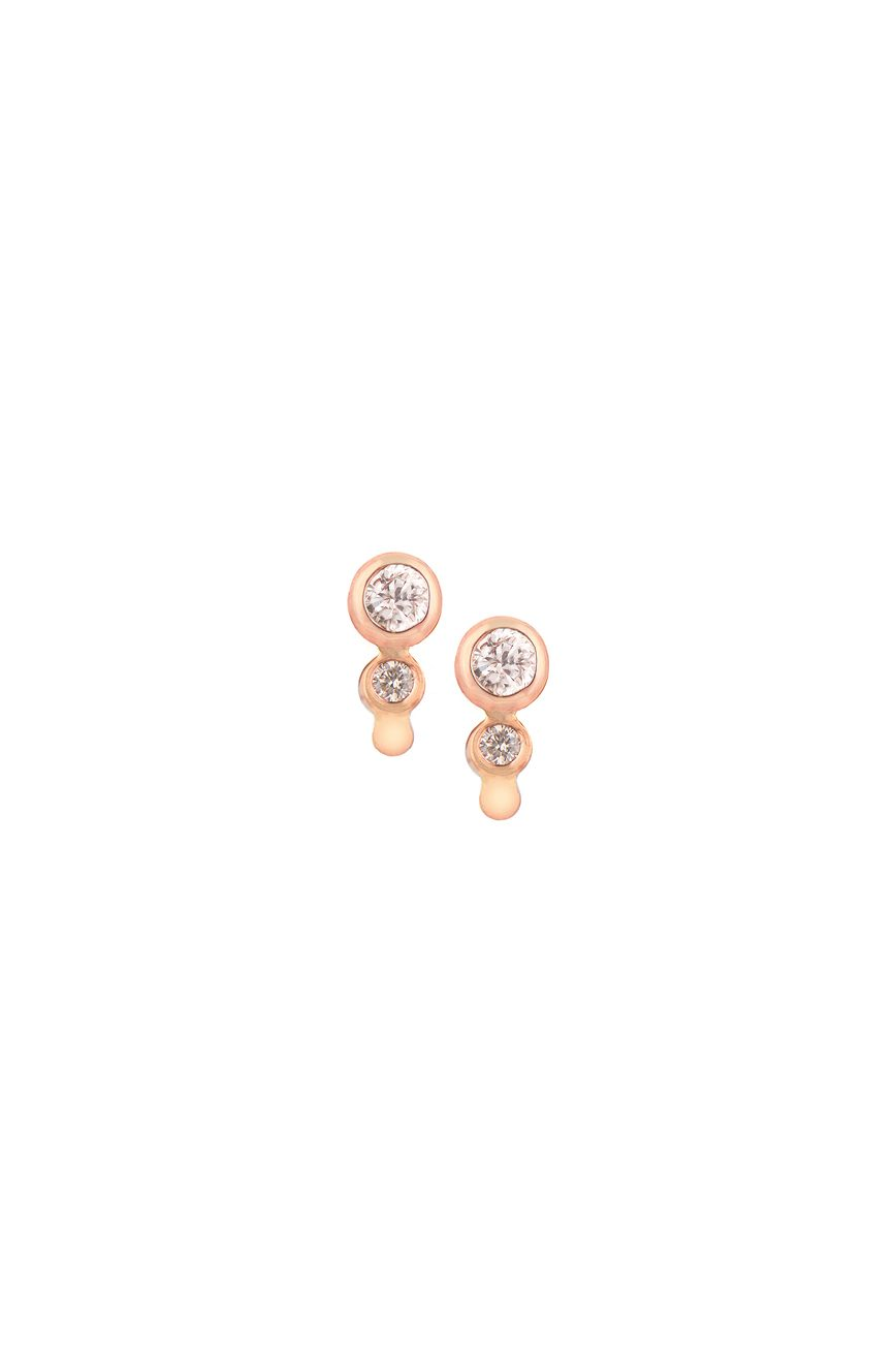 celine daoust protection believes double white brillant cut diamond stud earrings