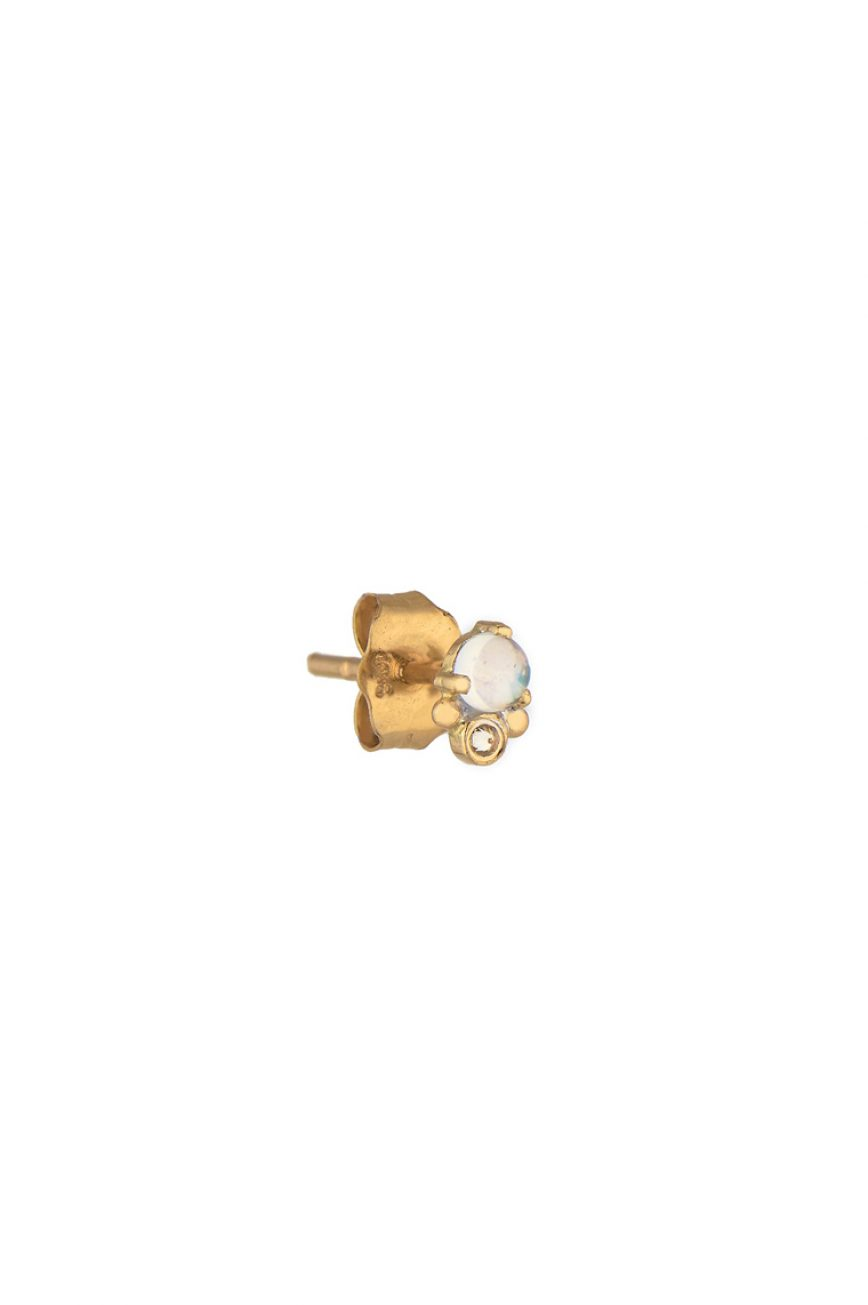 celine daoust yellow gold single moonstone reversed set diamond stud earring