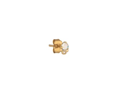 celine daoust yellow gold single moonstone reversed set diamond stud earring