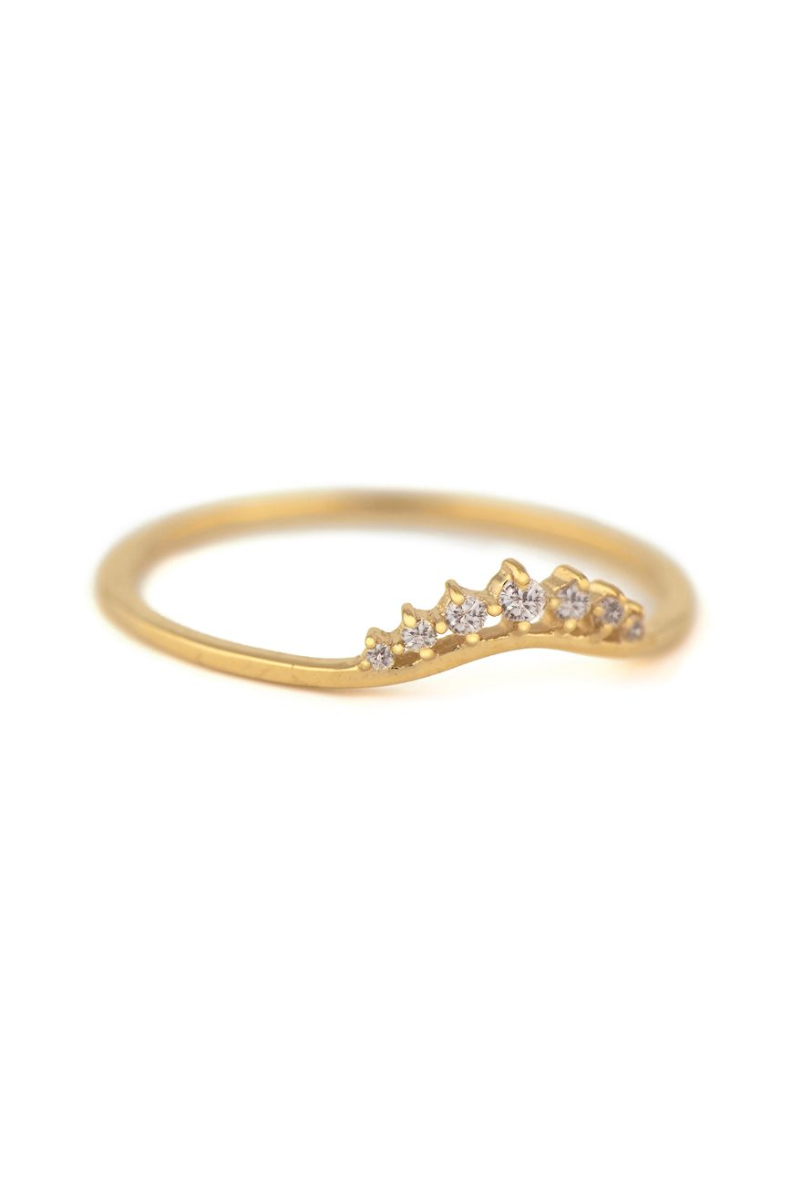 celine daoust gold small crown diamond stacking ring