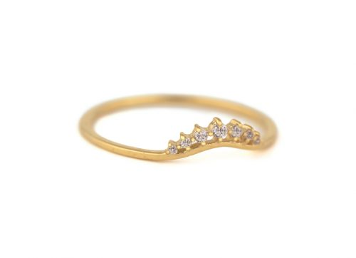 celine daoust yellow gold small crown diamond stacking ring