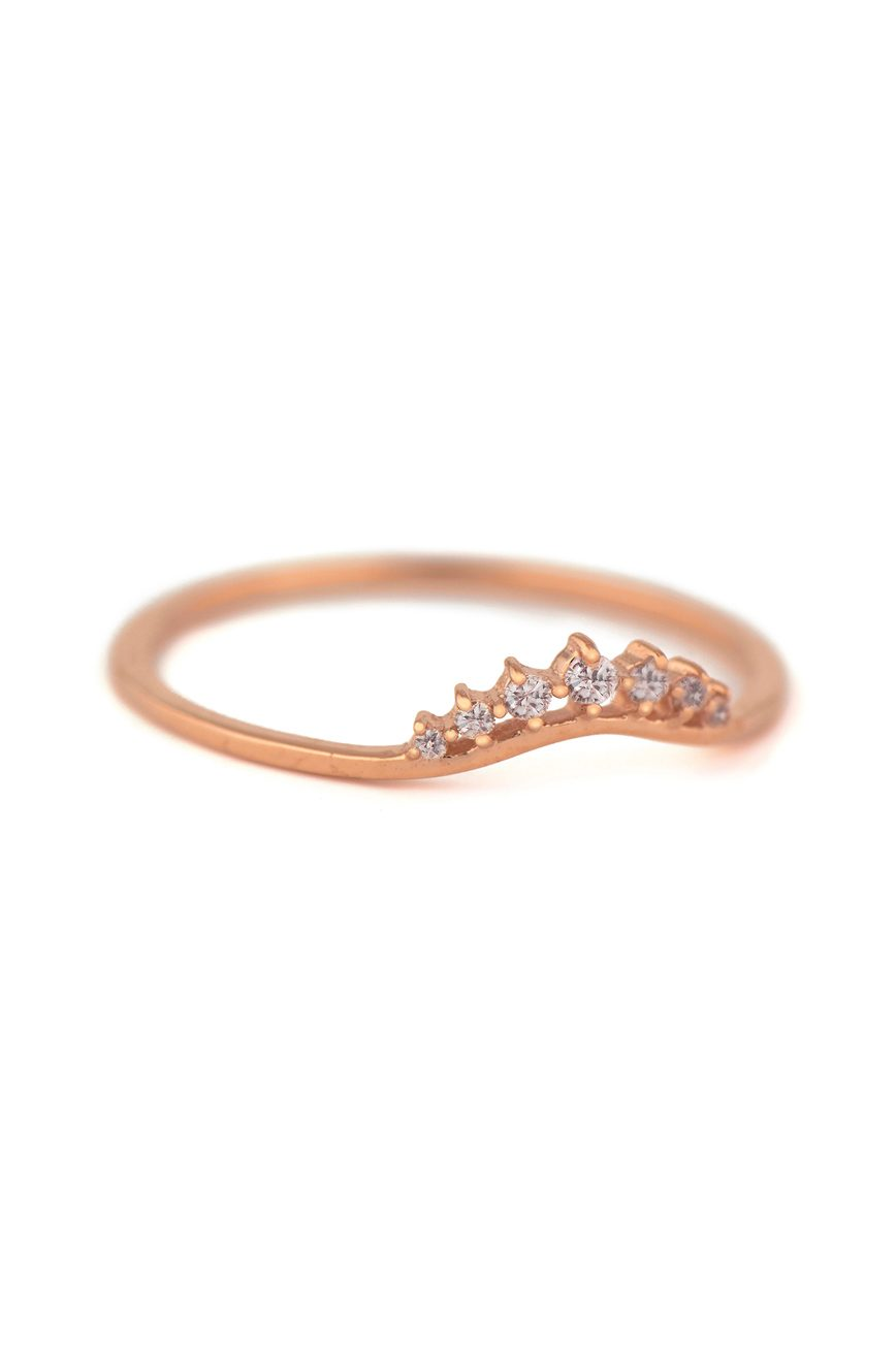 celine daoust rose gold small crown diamond stacking ring
