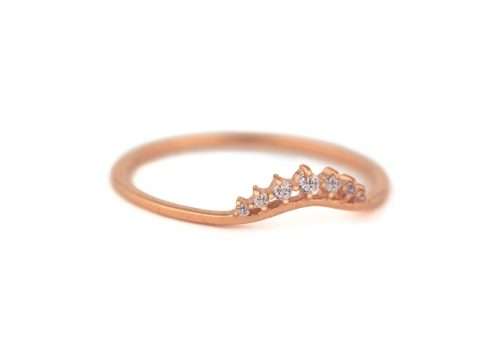 celine daoust rose gold small diamond stacking crown ring