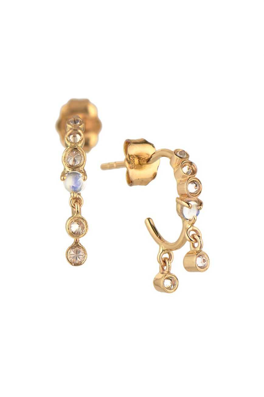 celine doaust yellow gold constellation moonstone reversed setting dangling diamond hoop earrings