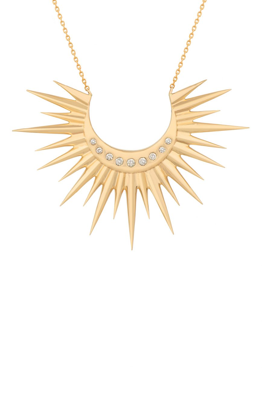 Celine Daoust Stars and universe Full Sun with Diamonds Moon Necklace