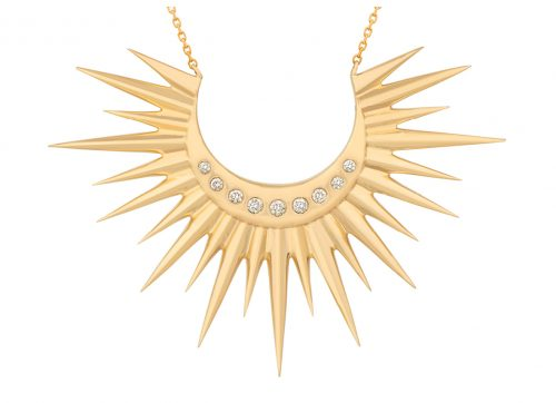 yellow gold moon and diamonds sun necklace celine daoust