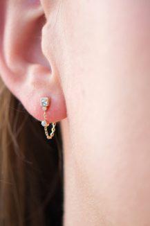 celine daoust single square reverse brilliant cut single chain stud earring