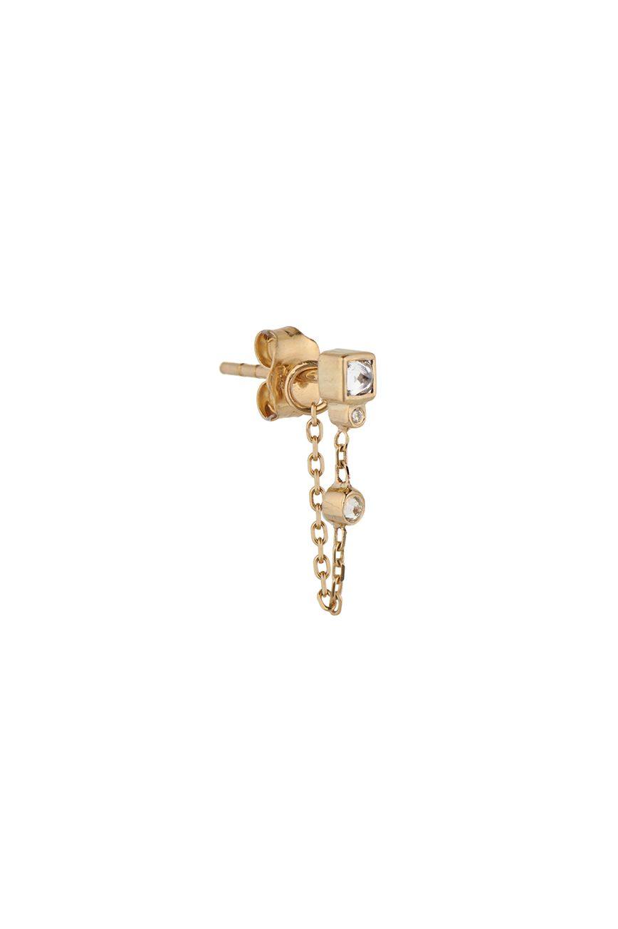 celine daoust reverse set white brilliant cut diamond stud chain earring