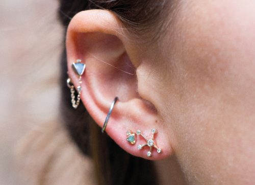 celine daoust earring stack small constellation diamond earring opal studs