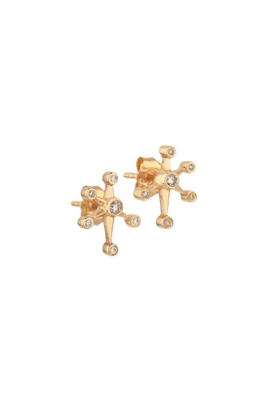 Yellow Gold White Diamond Constellation Mix and Match Stud Earrings