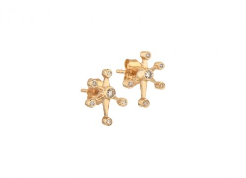 celine daoust gold diamond constellation stud earring