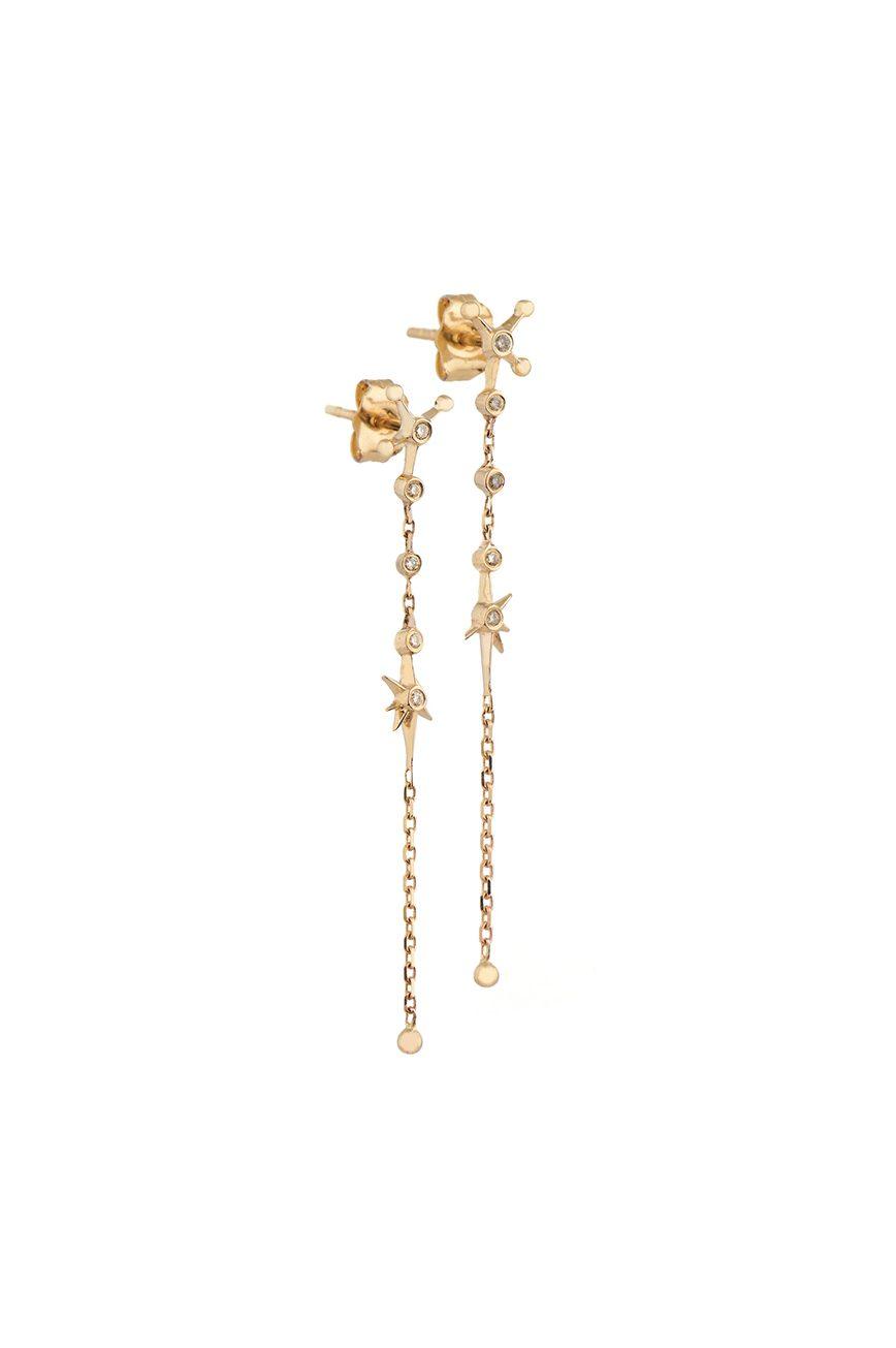 Yellow Gold White Diamond Long Chain Drop Earring
