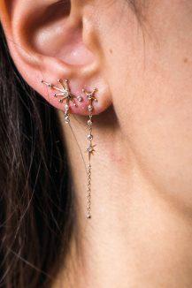 celine daoust long diamond chain earring