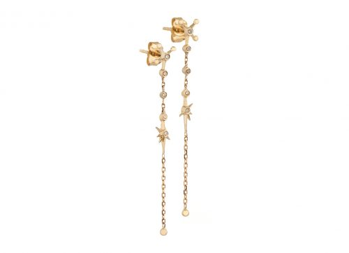 Yellow Gold White Diamond Long Chain Drop Earring