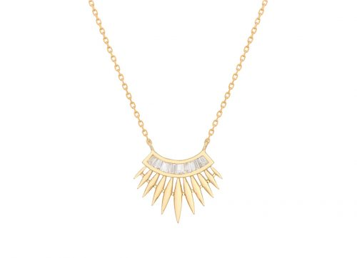 yellow gold rising sun with baguette diamonds necklace celine daoust