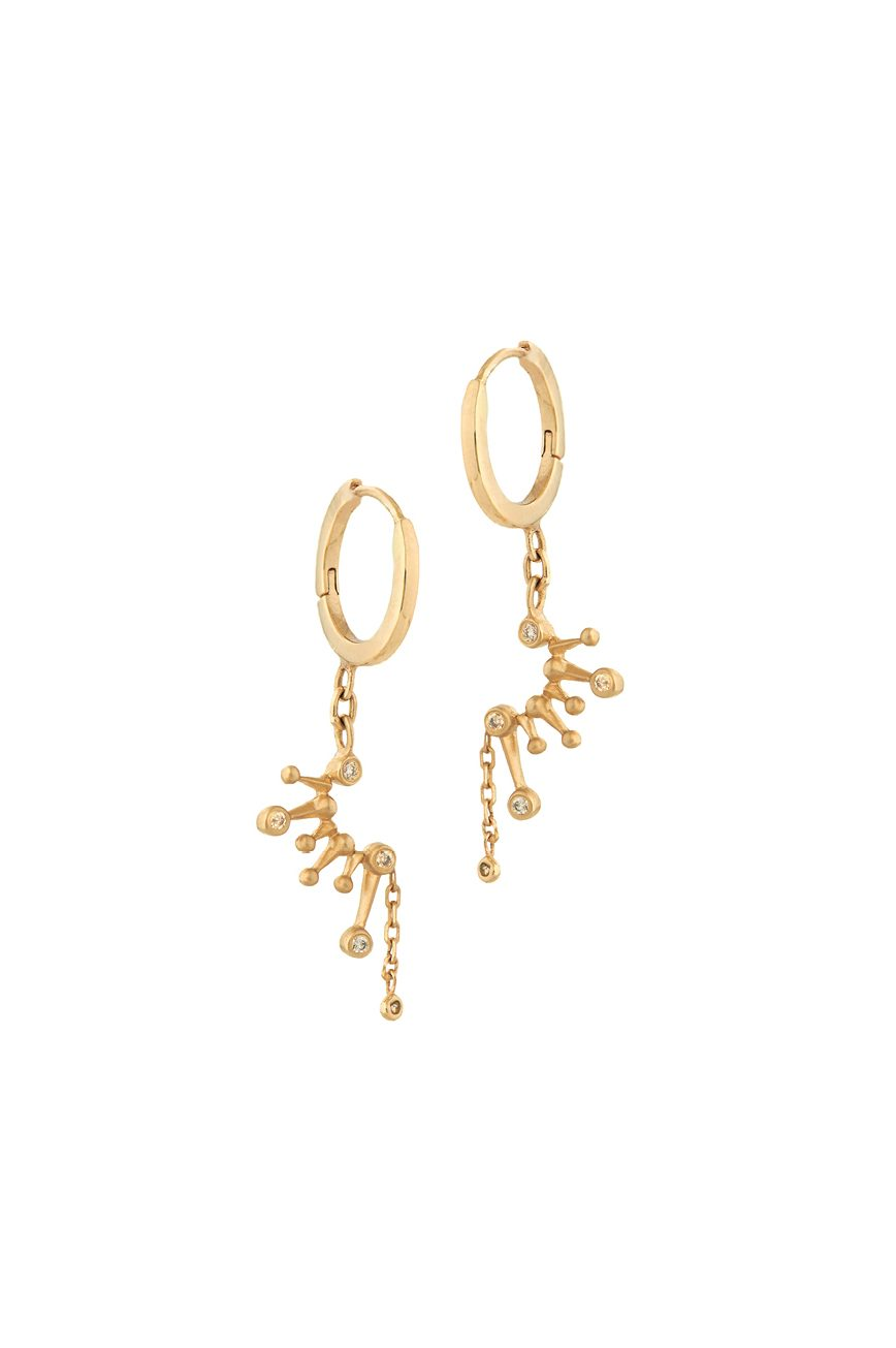 Yellow Gold White Diamond Constellation Hoop Huge Earring