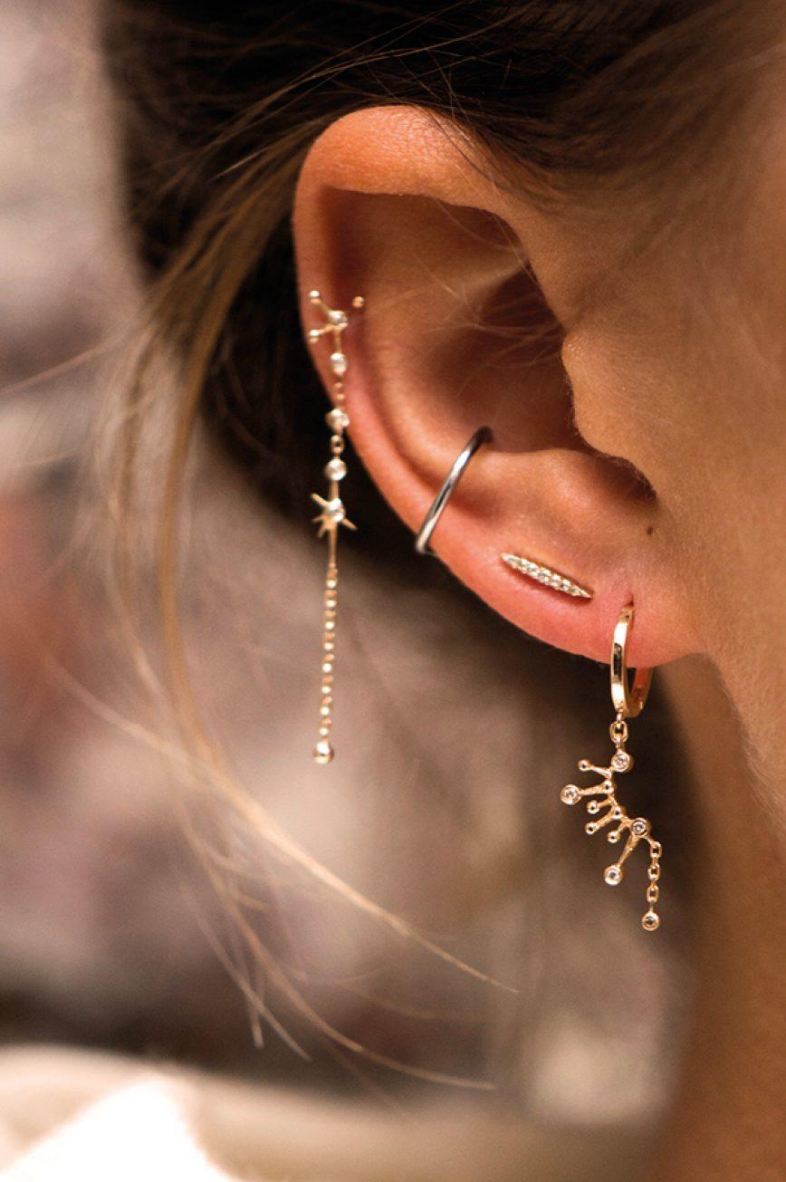 Earring Yellow Gold White Diamond Constellation Hoop Huge Celine Daoust