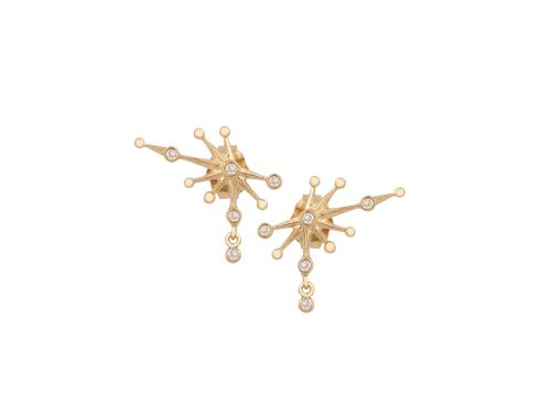Iconic White Diamond Yellow Gold Constellation Stud Earrings from Celine Daoust