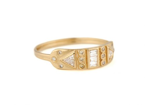 yellow gold guardian spirit totem diamonds ring celine daoust