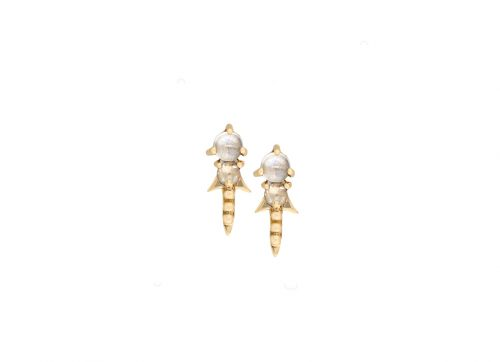 celine daoust gold constellation shooting star moonstone stud earrings