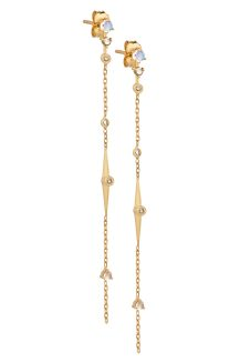 celine daoust gold constellation moonstone and diamond beam chain earrings