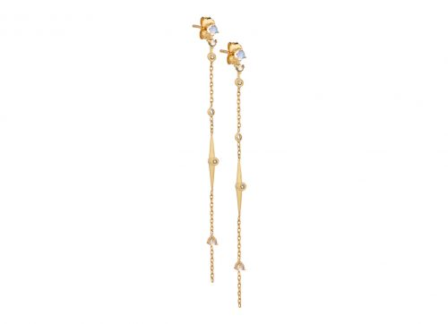 celine daoust yellow gold constellation moonstone diamond beam chain earrings