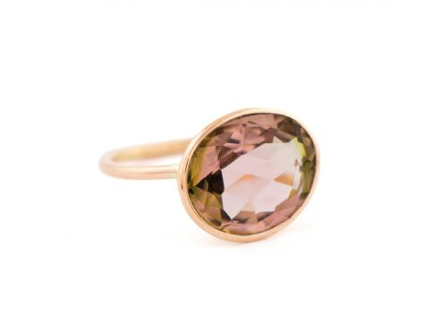 Celine Daoust rose gold light brown tourmaline ring