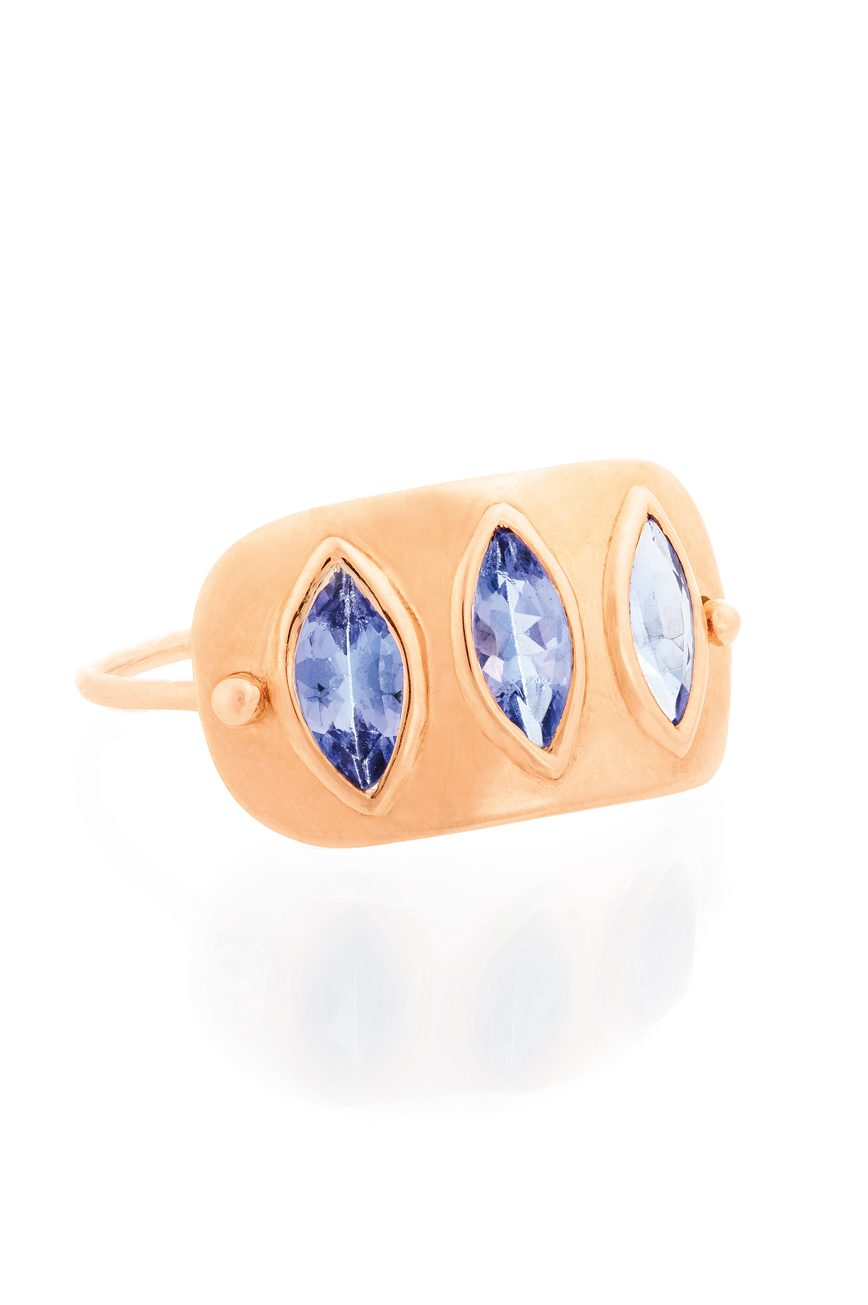 Celine Daoust Geometric Marquise Tanzanite Plate Ring