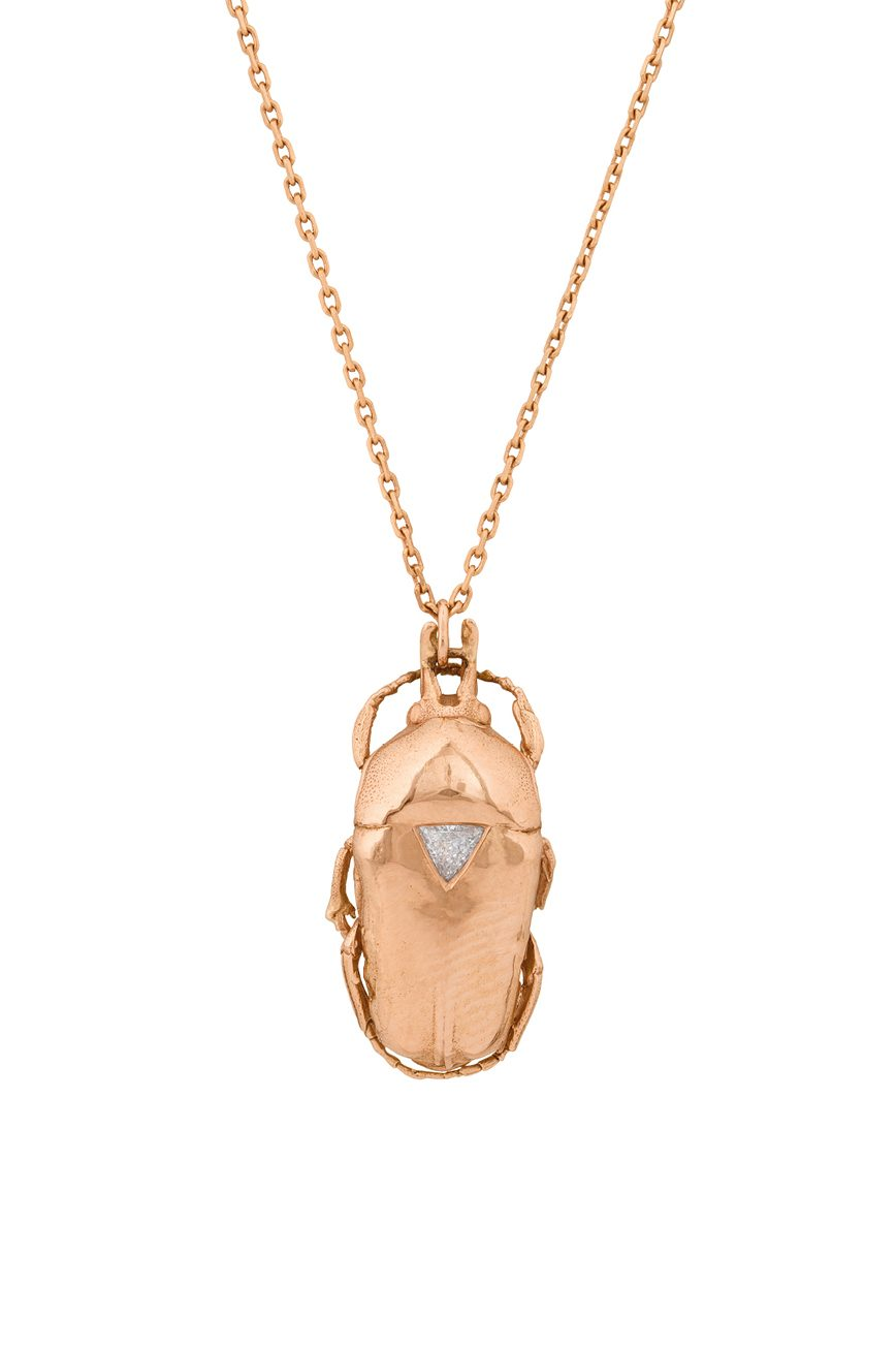 celine daoust gold from the earth scarab and triangle diamond necklace
